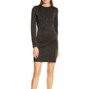 NWOT Veronica Beard Sharon metallic black gold stretch knit long sleeve dress